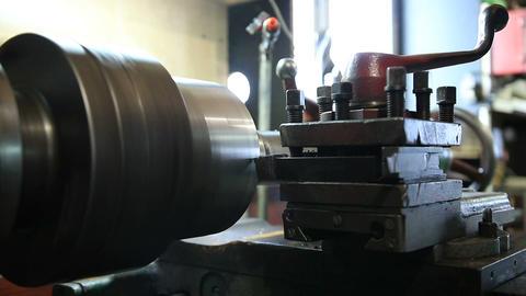 Cutting tool on vintage turning machine Footage