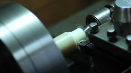 Close up turning lathe in action Footage