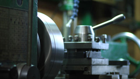 Cutting metal shaft processing on lathe machine Footage