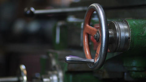 Mechanic operating old lathe machine Footage
