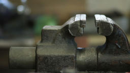 Old and rusty bench vise in metalwork workshop Footage