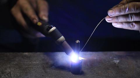 Welding work by TIG welding to repair detail Footage