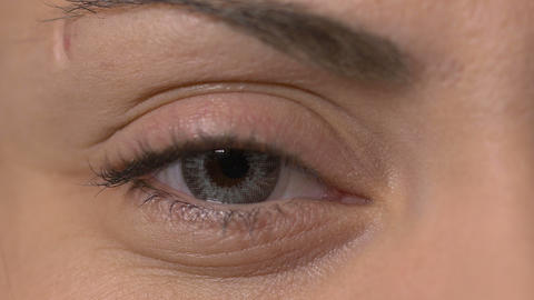Close-up of a female eye with contact lens Footage