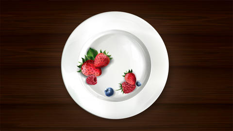 Set of blueberries, raspberries and strawberries on a white plate Live Action