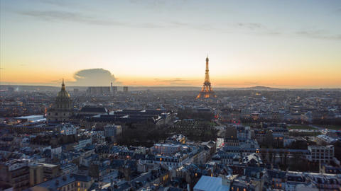 AERIAL HYPER LAPSE: Day to Night Time Lapse from Drone over Paris with view of Live Action