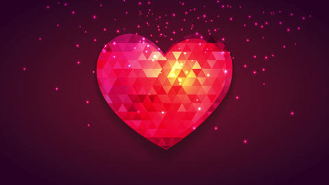 abstraction red heart with mini sparkling triangles decorating it and sparkling galaxy arriving Animation