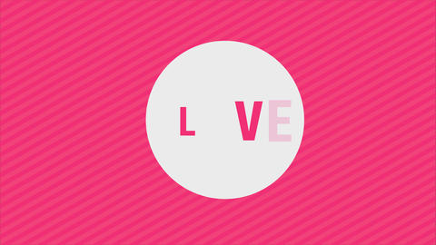 valentines day letter with pink stripes and the word love pierced by an arrow with corny typography Animation