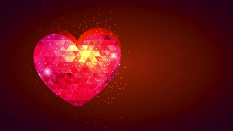 abstraction red heart with small shining triangles decorating it and bubbly stars arrival resembling Animation