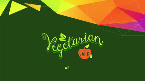 vegetarian option list decorated with an orange cherry and a outstanding conceptual template with 3d Animation