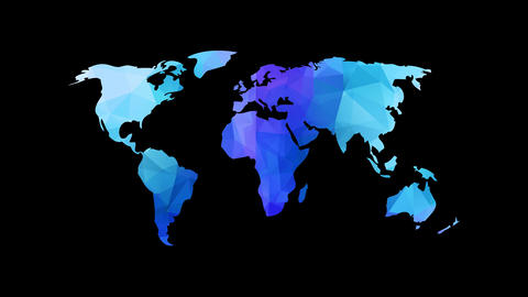 abstract world map with geometric triangles creating diamond forms with blue and purple colors in Animation