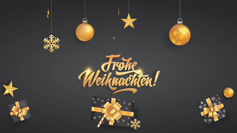 christmas design animation with the words frohe weihnachten written in the middle while golden Animation