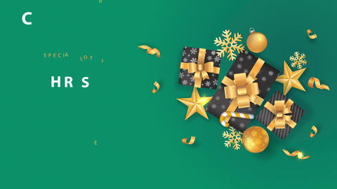 xmas sale design with yellow bulbs confetti snowflakes and a sweets cane surrounding a lot of gifts Animation