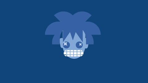 funny mouth and mad eyes with stars like pupils emerging on frame spinning then crazy hair and face Animation