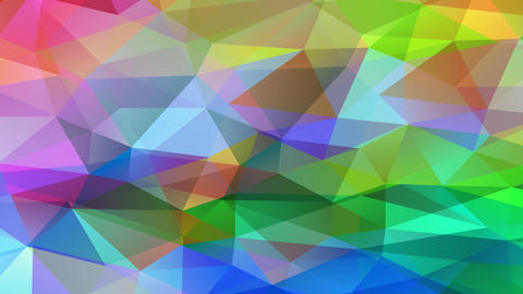 coloured polygon patchwork with small 3d triangles forming a bright geometrical collage like a Animation