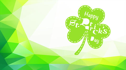 st patricks day vacation with a green clover surrounded by a 3d abstract arc made with triangles and Animation