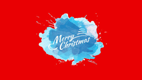 merry xmas message written with classical white offset decorated with a formal tree and star over Animation