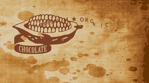 innovative conceptual art of organic chocolate product with a ribbon around a cocoa pod over a Animation