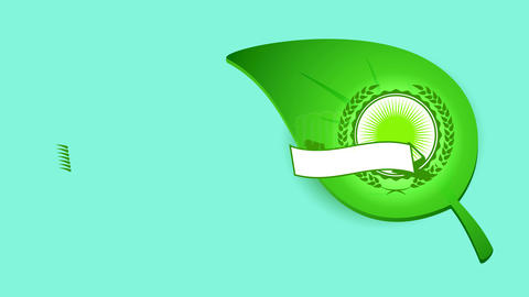 natural eco kind product composed of grain branches surrounding a celtic text over a pure green leaf Animation