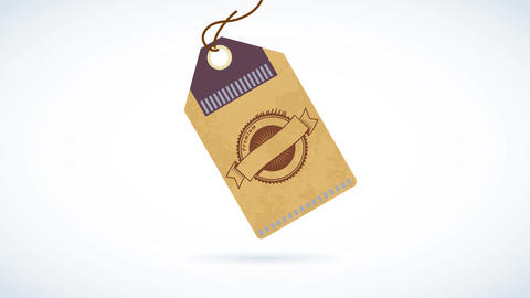 distinctive label for a quality coffee product consisting on a circled drawing impressed on a paper Animation