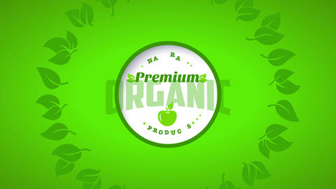ring of leafs of an eco kind product using vintage offset over a lemon green canvas Animation