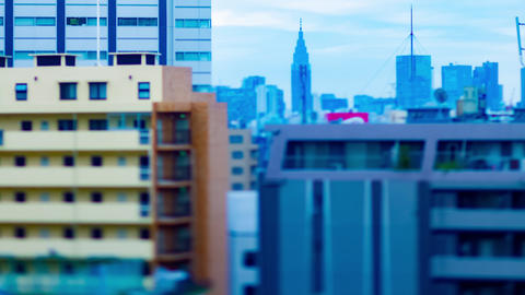 A dusk miniature timelapse at the urban city in Tokyo high angle tiltshift Live Action