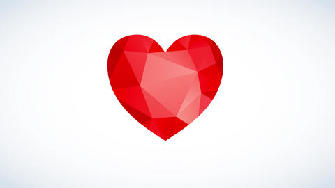 bright red heart floating on a white canvas with geometric forms giving tridimensional effect Animation
