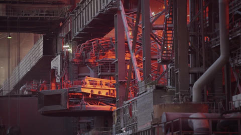 Metallurgical production, equipment at the hot workshop at the plant, heavy Live Action