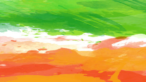 green and orange watercolor strip spread carelessly like a youth illustration building a creative Animation