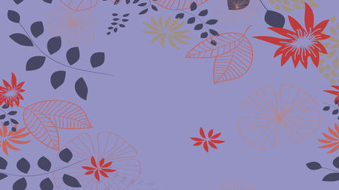 delicate floral design animation with diverse doodles of flowers leafs and numerous plants appearing Animation
