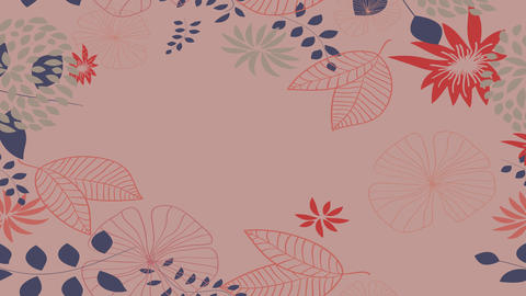 floral animation with leafs and flowers creating a frame and other plants falling bouncing and Animation