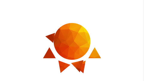 fabulous stylized abstraction sun with geometric sun movement surrounding the center changing color Animation