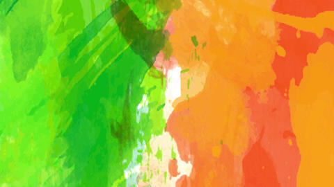 green and orange watercolor strip spreading carelessly like a youth painting forming a creative Animation