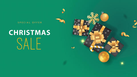 xmas selling design with golden bulbs confetti snowflakes and a sweet cane peripheral a bunch of Animation