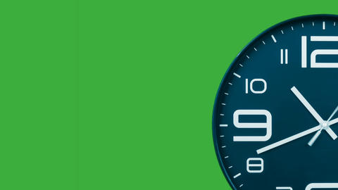Modern light blue clock face moving fast forward transition green screen chroma key background Animation