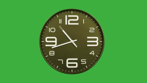 Modern golden clock face moving fast forward timelapse green screen chroma key Animation