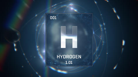 Hydrogen as Element 1 of the Periodic Table 3D animation on blue background Animation