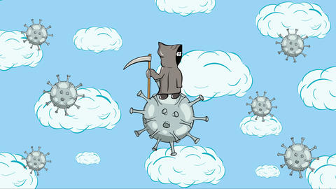 Death on virus with microbes clouds Animation