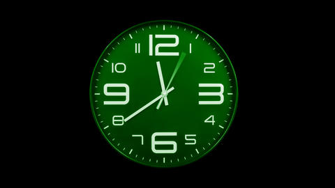 Modern green clock face moving fast forward alpha channel Animation