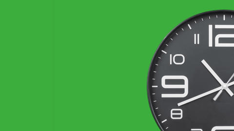 Modern silver clock face moving fast forward transition green screen chroma key background CG動画