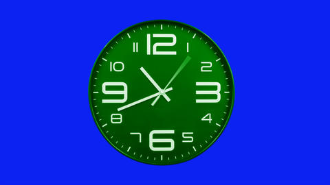 Modern green clock face moving fast forward timelapse blue screen chroma key Animation