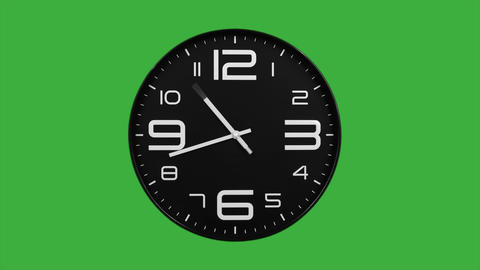Modern black clock face moving fast forward timelapse green screen chroma key Animation
