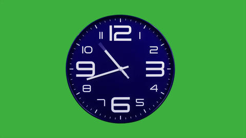 Modern blue clock face moving fast forward timelapse green screen chroma key Animation
