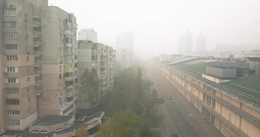 Kiev Ukraine - April 18, 2020. Dangerous air pollution, the city Live Action