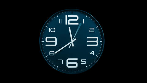 Modern light blue clock face moving fast forward alpha channel Animation