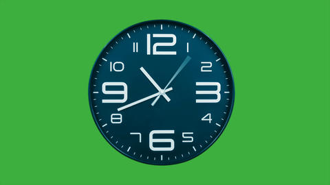 Modern light blue clock face moving fast forward timelapse green screen chroma key Animation