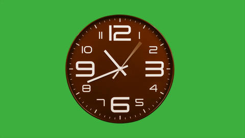Modern orange clock face moving fast forward timelapse green screen chroma key Animation