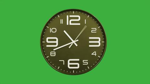 Modern golden clock face moving fast forward timelapse green screen chroma key Animation