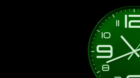 Modern green clock face moving fast forward transition alpha channel Animation