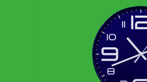 Modern blue clock face moving fast forward transition green screen chroma key background Animation