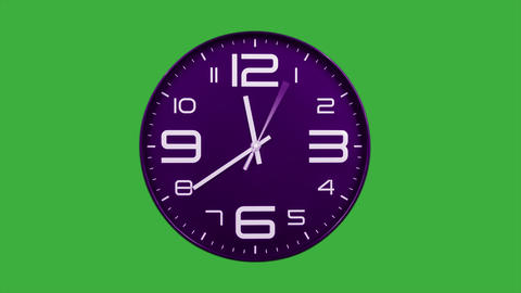 Modern purple clock face moving fast forward timelapse green screen chroma key Animation